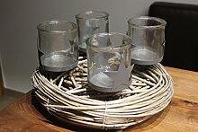 Adventskranz mit 4 Gläsern Durchmesser 30 cm