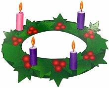 Adventskranz mit rosafarbenen und violetten