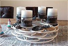 Adventskranz Rund Weiß aus Weide mit Kerzen und