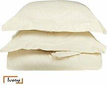 Ägyptische Baumwolle 600-thread-count 1Bettbezug/Quilt Cover {Taste Schließung} wählen Sie Farbe und Größe (alle Größen und Farben), ägyptische Baumwolle, elfenbeinfarben, UK Small Single Long
