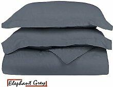 Ägyptische Baumwolle Scala 1Bettbezug/Quilt Cover {Reißverschluss} wählen Sie Farbe und Größe (alle Größen und Farben), ägyptische Baumwolle, Grau (Elephant Grey), Doppelbe