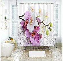 Aeici Bad Vorhang Blumen Mit Wassertropfen