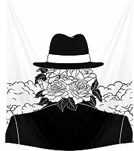 Aeici Tapisserie Vintage Blumenkopf Mit Hut