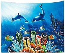 Aeici Tapisserie Vorhang Fischkoralle Wandtuch