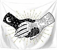 Aeici Tapisserie Vorhang Hände Mit Blume Und