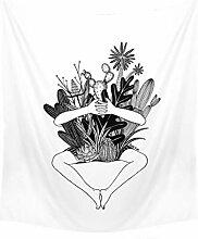 Aeici Tapisserie Vorhang Pflanze Wandtuch Schwarz