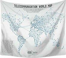 Aeici Tapisserie Vorhang Weltkarte Tapisserie Tuch