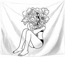 Aeici Wandtuch für Die Wand Frau Mit Blumen Tuch