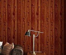 Aensw Retro Nostalgie, Holz Wand Tapeten, Kleidung Shop Grill Restaurant Friseur 3D-Massivholz, Holz imitierenden Tapete, bräunlich, Braun