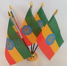 Äthiopien Äthiopische Flagge Star 5Display Tisch mit Base Gold