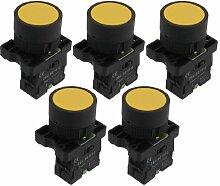 Aexit 5 x 22mm 1 Nr. N/O Gelb Zeichen Momentan Drucktaste Schalter 600V 10A ZB2-EA51