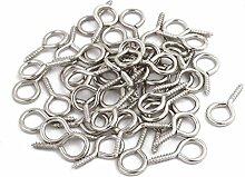 Aexit 50 Stk 2 mm Durchmesser Gewinde Schraube Edelstahl Öse Ringe Silber Ton