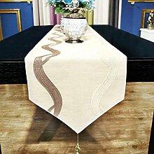 AEXU Kurz Beige Blumen-Muster-Tuch-Tabellenläufer