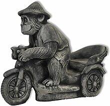 Affe auf dem Motorrad Figur Skulptur Äffchen massiv Dekoration Neuware