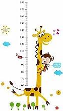 Affe Klettern auf Giraffe Messlatte Wandtattoo Kinder Höhe Wand Aufkleber