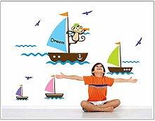 Affe Ozean Tour Kinderzimmer Wandaufkleber