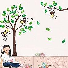 Affen Bäume grün Blätter Wand Aufkleber PVC Home Aufkleber House Vinyl Papier Dekoration Tapete Wohnzimmer Schlafzimmer Küche Kunst Bild DIY Wandmalereien Mädchen Jungen Baby Kinderzimmer Spielzimmer Decor