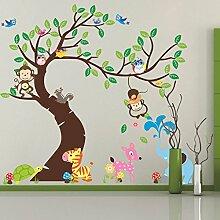 Affen Elefant Tiere Eulen Baum Vögel Wand