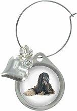 Afghan Jagdhund Hund Bild Design Weinglas Anhänger mit schicker Perlen
