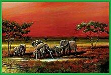 Africa - Elephants - Poster Gemälde Elefanten -