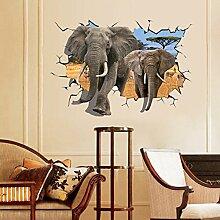 African Elefant 3D Style Wandbild Aufkleber PVC