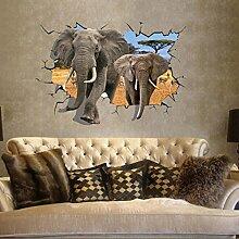 African Elefant 3D Style Wandbild Aufkleber PVC Home Aufkleber House Vinyl Papier Dekoration Tapete Wohnzimmer Schlafzimmer Küche Kunst Bild DIY Wandmalereien Mädchen Jungen Baby Kinderzimmer Spielzimmer Decor
