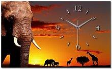 Afrika Elefant Alu Designer Funk Wanduhr Funkuhr modernes Design *Made in Germany* WA107F