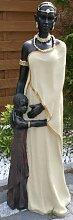 Afrikanische Skulptur Frau mit Kind 100 cm Massai beige