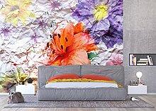 AG Design - Fototapete - Blumen mit Papiereffekt -