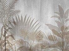 AG Design Tropische Pflanzen auf grau, Vlies
