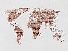 AG Design Ziegel Weltkarte, Vlies Fototapete für