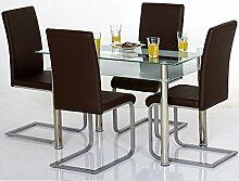 Agionda ® Esstisch Kay mit Stuhlset Jan Piet ® 4er Satz mit hochwertigem PU Kunstleder in braun