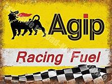 Agip Rennsport Benzin Öl Motorsport Motor Rennsport Werkstatt Metall/Stahl Wandschild - 20 x 30 cm
