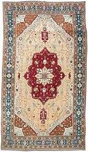 Agra Teppich in Rot, Türkis und Beige, 19. Jh.