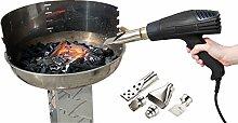 AGT Grill-Zubehör: Grillanzünder-Heißluftpistole mit 2 Gebläsestufen, bis 1.800 Watt (Anzünder für Grill, Kohle, Kamin, Ofen, Grillen)