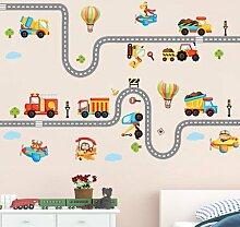 Aha Yo-Cartoon - Tracks, Auto - Wand Aufkleber, Kinderzimmer, Wohnzimmer Mit Sofa, Hintergrund - Wand, Dekorative Wand Aufkleber Diy