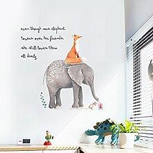Aha Yo-Fox Und Elephant Wand Angebracht, Kinderzimmer, Schlafzimmer, Wohnzimmer Sofa Hintergrund Wall Sticker Shop Fenster Glas Deko Wand Aufkleber Diy