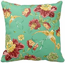 AHArtSaleStore O29L Bohemian Style Flower Birds Throw Pillow 18 X 18 Square Pillowcase
