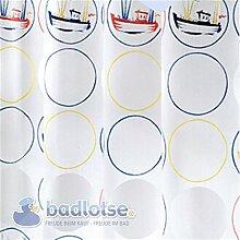 AHOI Duschvorhang Vinyl 180 x 200 cm weiß/gelb/rot/blau bunt Boote Kreise