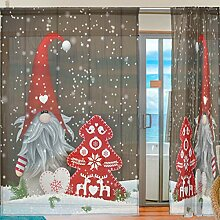 Ahomy 2 Panels Voile Fenstervorhang Weihnachten