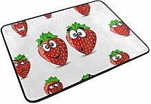 Ahomy Fußmatte Emotion Cartoon Erdbeeren sehr