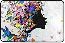 Ahomy Fußmatte für Mädchen mit Blumen, Vogel