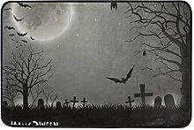 Ahomy Fußmatte Halloween Fledermaus Mond, sehr