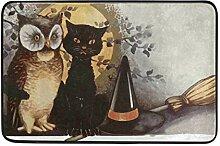 Ahomy Fußmatte, Halloween, Schwarze Katze, Eule,