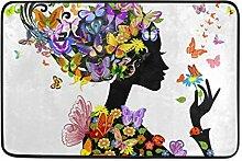 Ahomy Fußmatte mit Blumen-Motiv und