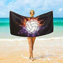 Ahomy Mikrofaser-Strandtücher Volleyball On Fire