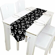 Ahomy Tischläufer, Schwarz/Weiß, Polyester,