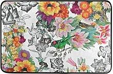 Ahomy Wihve Wasserfarbe, Tropische Blumen, Vogel,