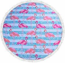 Ahorn & Home Custom Blau Hintergrund Flamingo Muster Strandtuch–Runde Tischdecke Wandbehang Tapisserie Beach Decke Yoga Matte Sonnenschutz Schal Wrap Rock Fransen Baumwolle