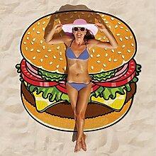 Ahorn & Home Custom Hamburger Muster Strandtuch–Tischdecke, rund, Wand Wandbehang Strand Decke Yoga Matte Sonnenschutz Schal Wrap Rock Fransen Baumwolle